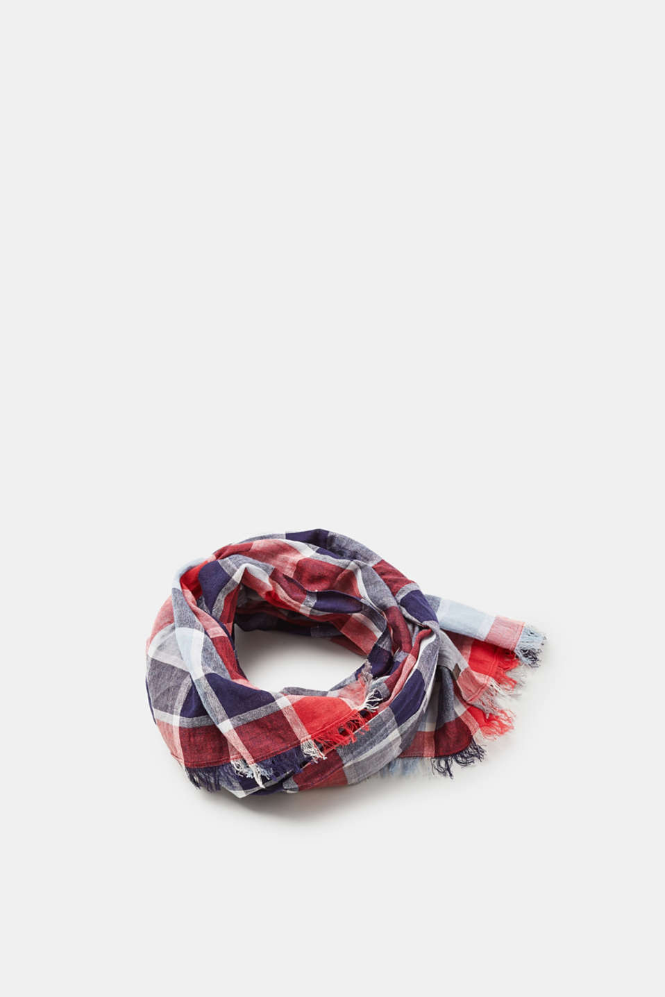 Esprit - Lightweight check scarf in 100% cotton