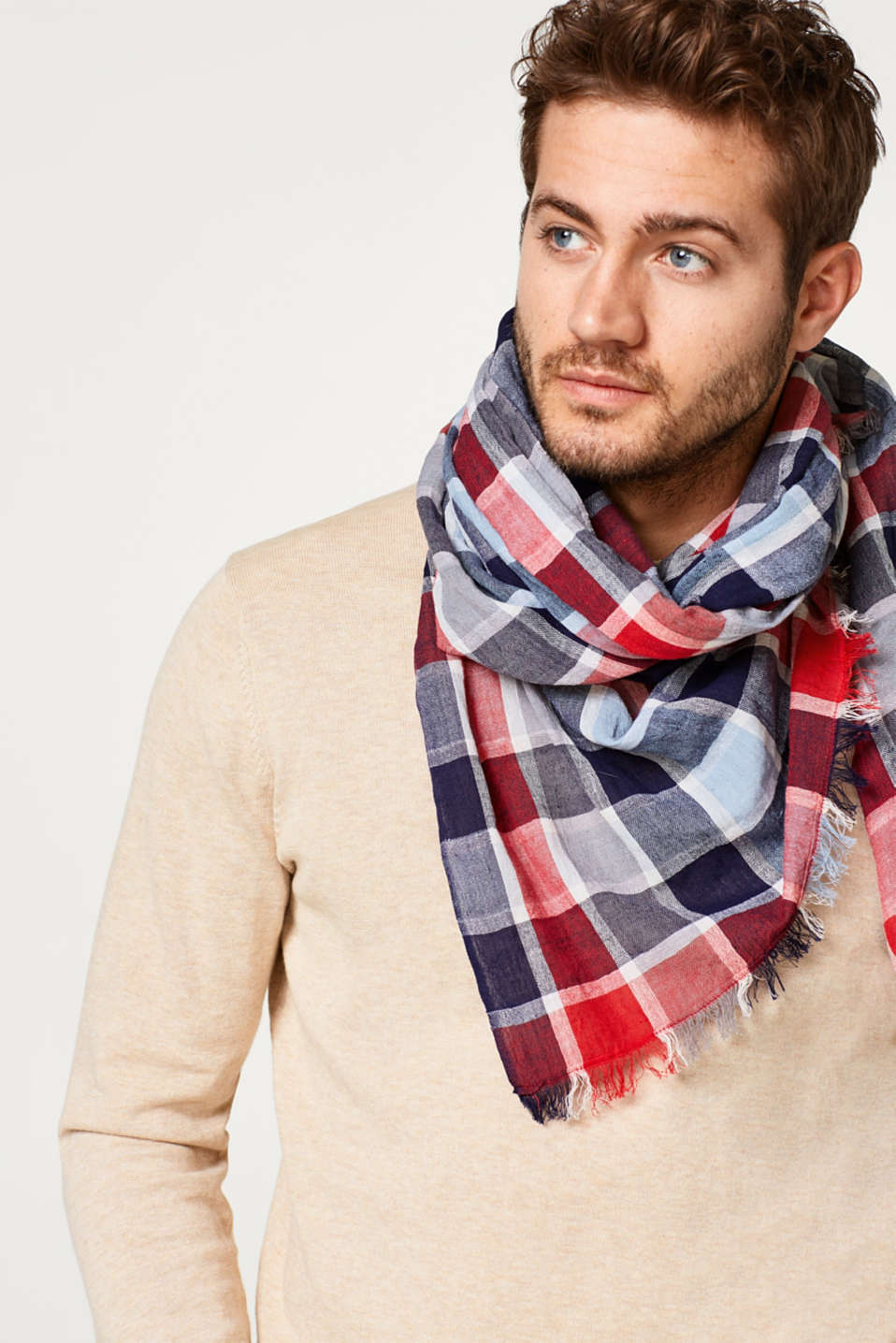 Lightweight check scarf in 100% cotton