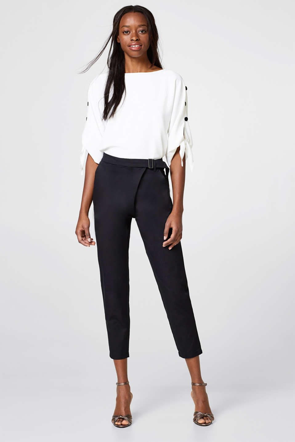 Esprit - Cropped stretch trousers + wrap-over effect