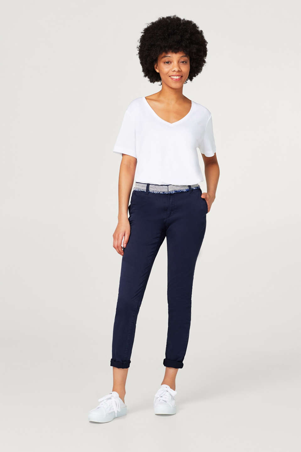 Esprit - Stretch cotton chinos with waistband border