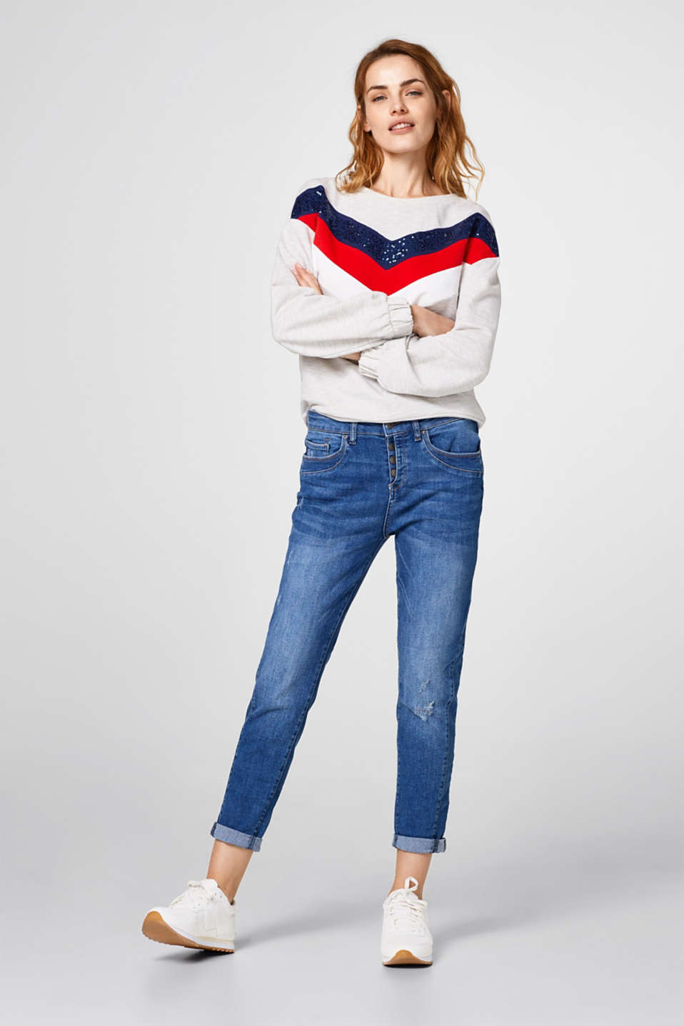 Esprit - Super stretch jeans with a button placket