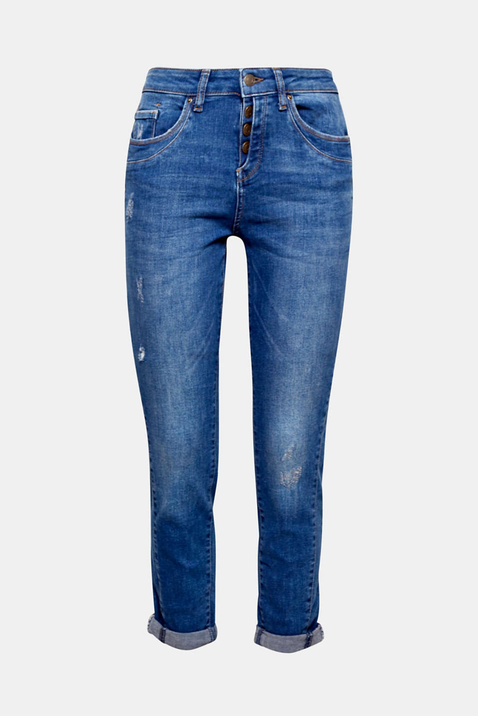 Super casual, super comfortable, super stretch: Boyfriend-style jeans with a button placket and vintage finish!