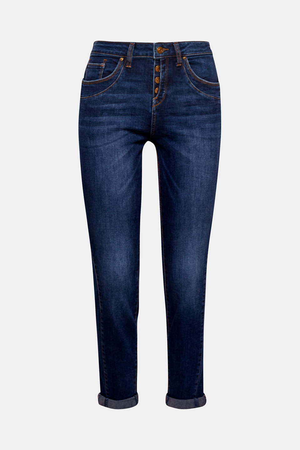 These cropped stretch jeans with a semi-concealed button placket are the perfect pair for spring!