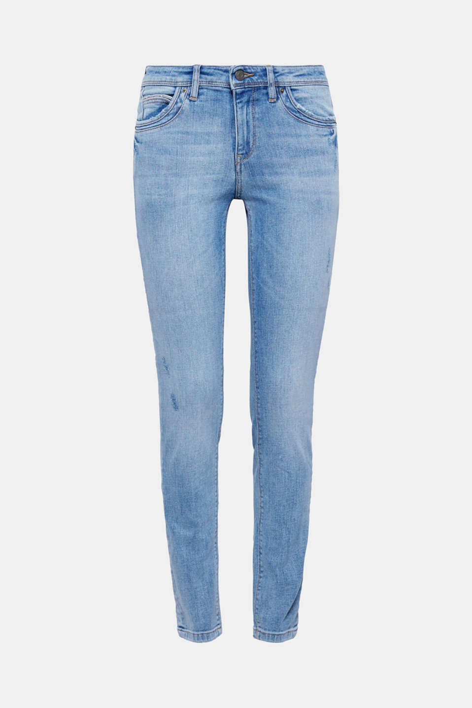 Vintage effects and embellished pockets give these stretch jeans in high-quality organic cotton their look!