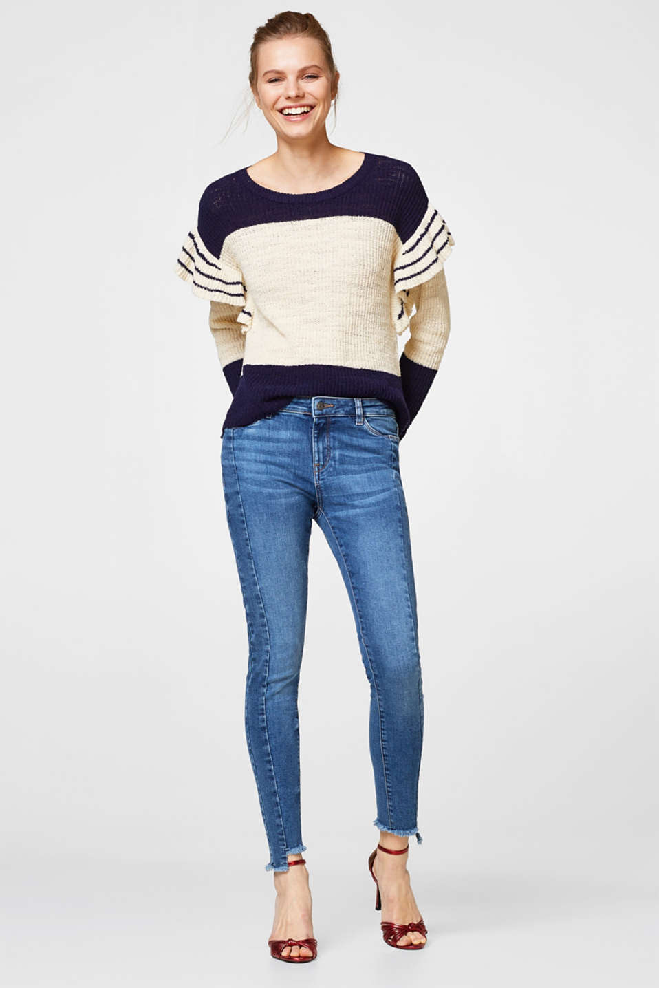 Stretch jeans with decorative side seams
