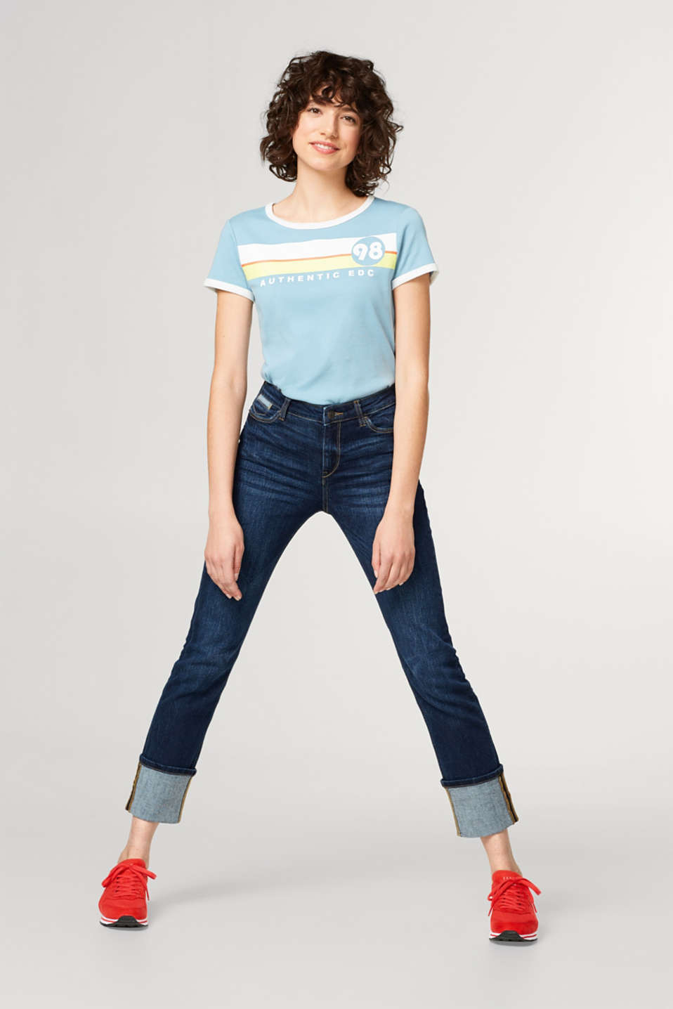Stretch-Jeans mit verzierter Penny Pocket
