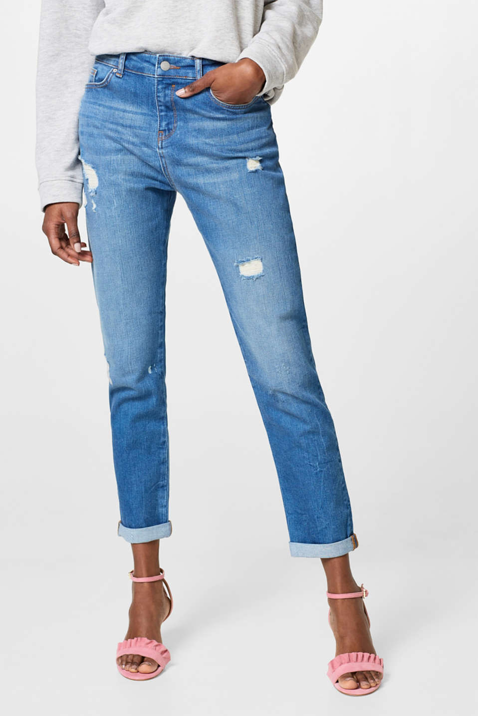 Esprit - Stretch jeans with distressed effects