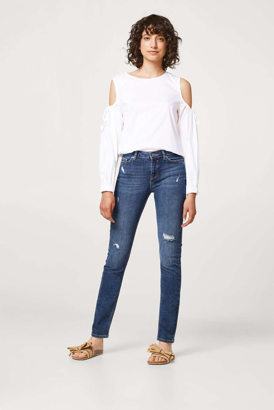 Esprit - Stretchy jeans with heavy vintage effects