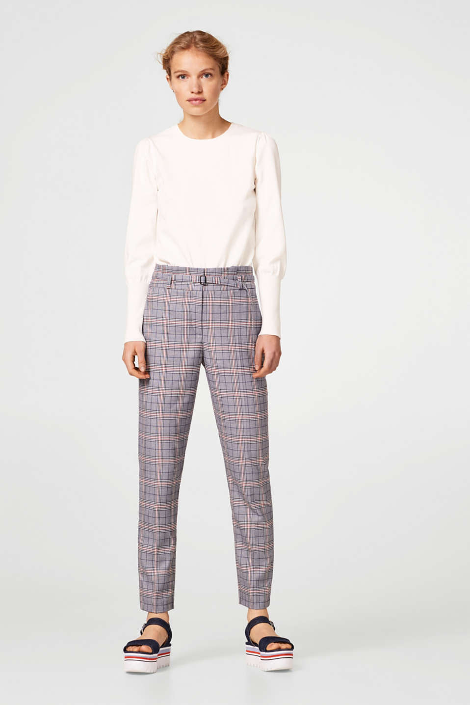 Esprit - Stylish checked trousers + paper bag waist