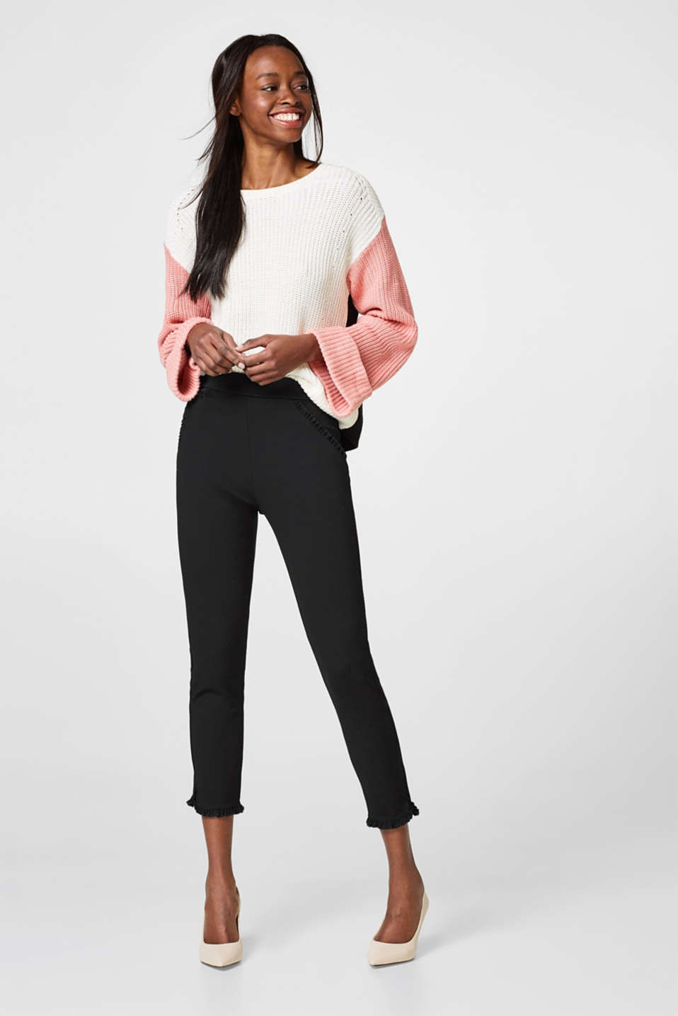 Esprit - Treggings cropped con ruches