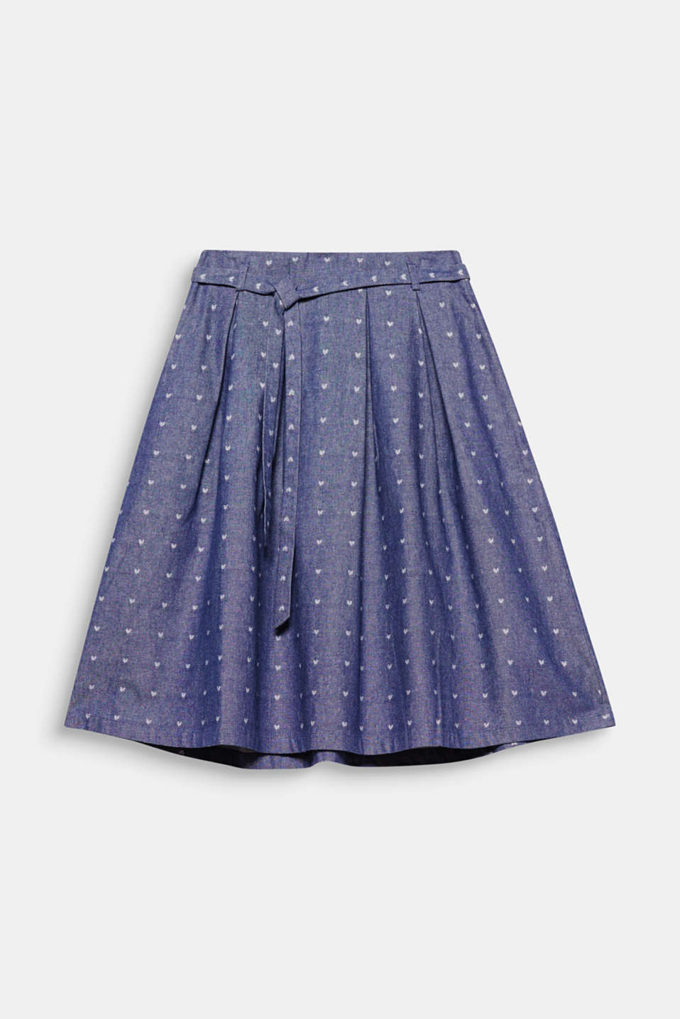 Denim with a playful touch: wide flared skirt with interwoven hearts!