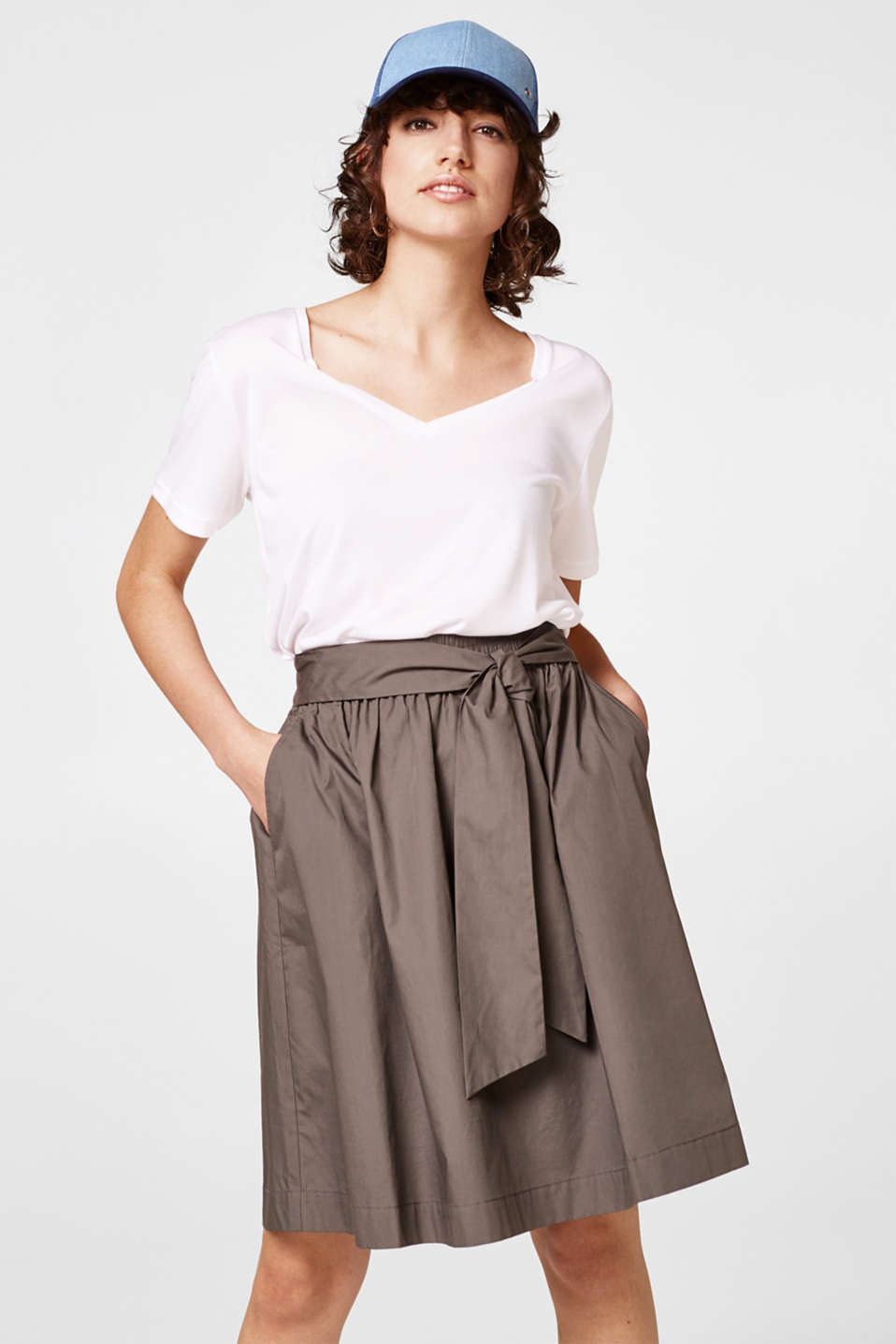 Esprit - Flared poplin skirt + smocked waistband