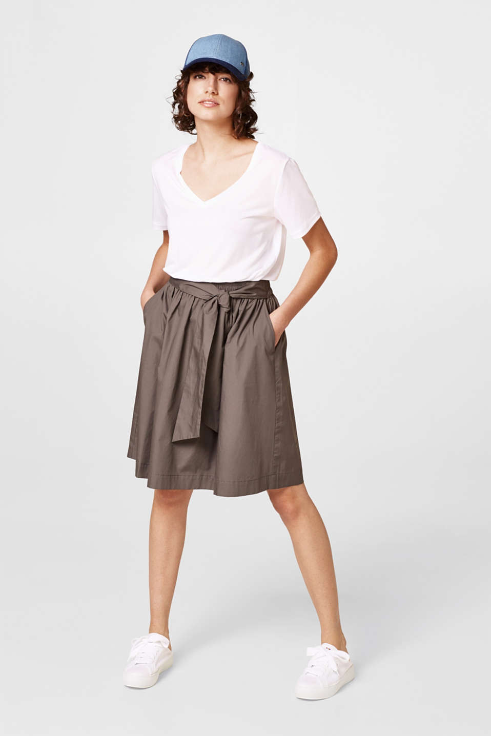 Flared poplin skirt + smocked waistband