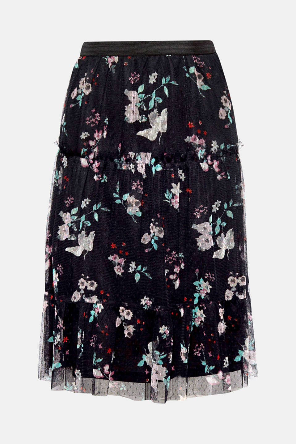 For a feminine spring look: we love this delicate tulle skirt thanks to its lightweight finish and floral all-over print!
