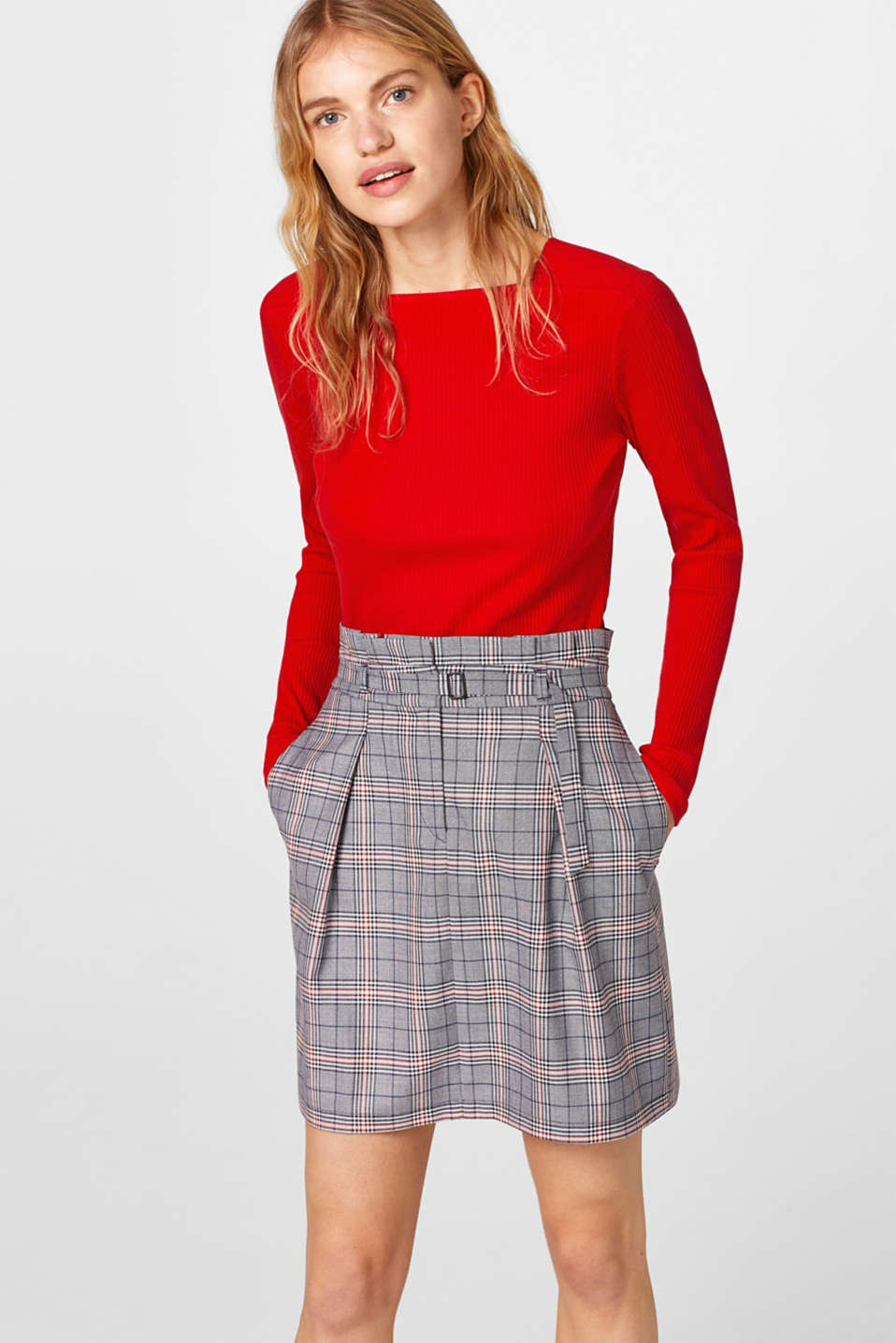 Esprit - Flared glencheck skirt with a modern waistband
