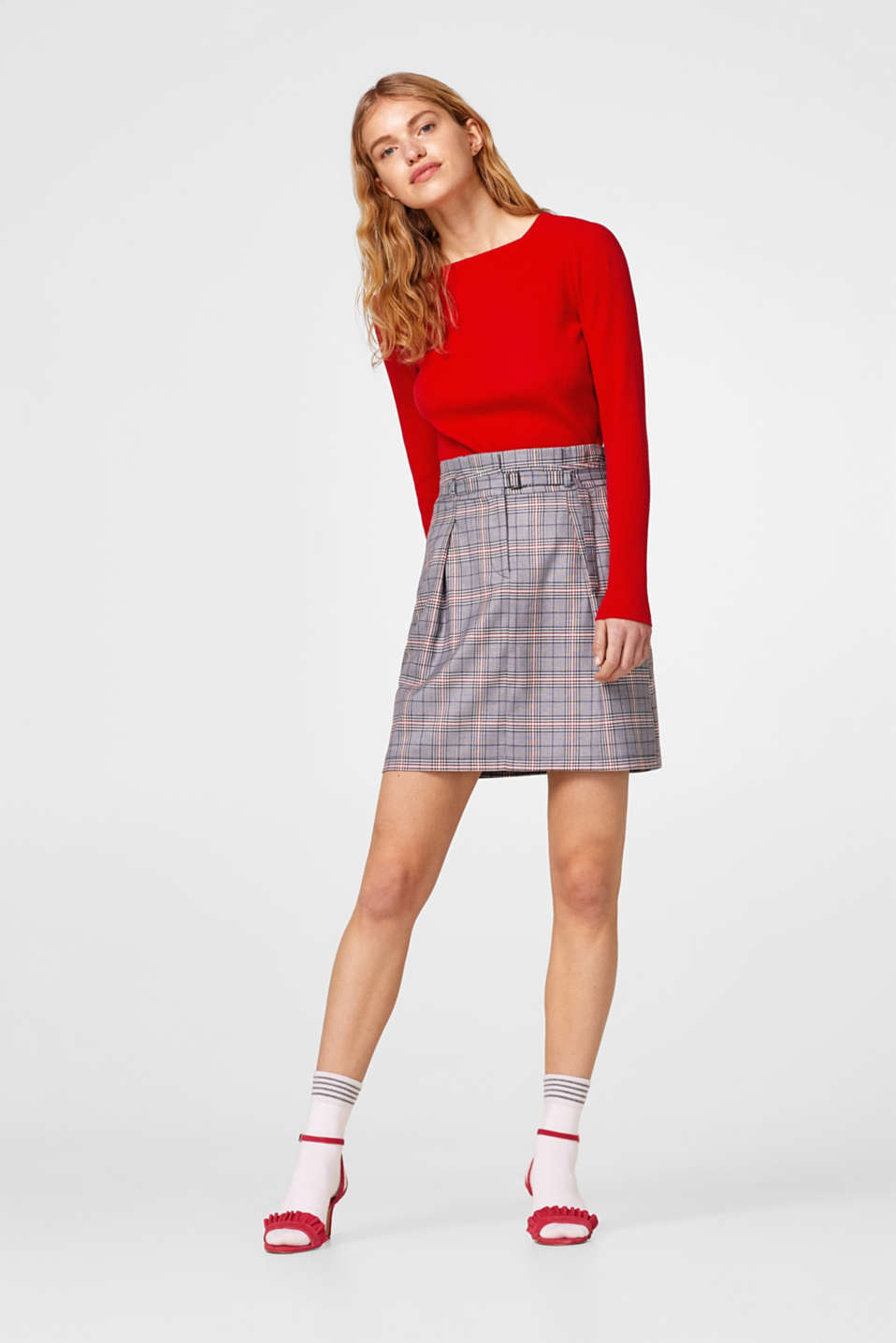 Flared glencheck skirt with a modern waistband