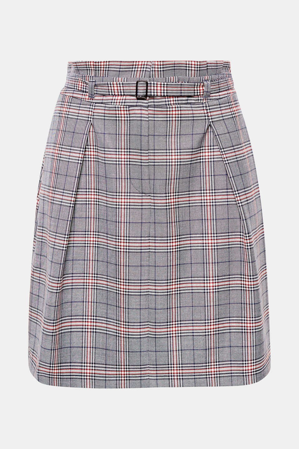 Let your waist takes centre stage with this short glencheck skirt featuring a high waistband with pleats and a narrow belt!