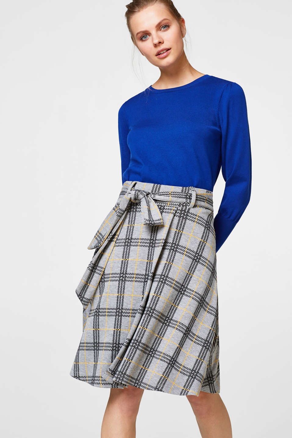 Esprit - Flared skirt in compact jersey