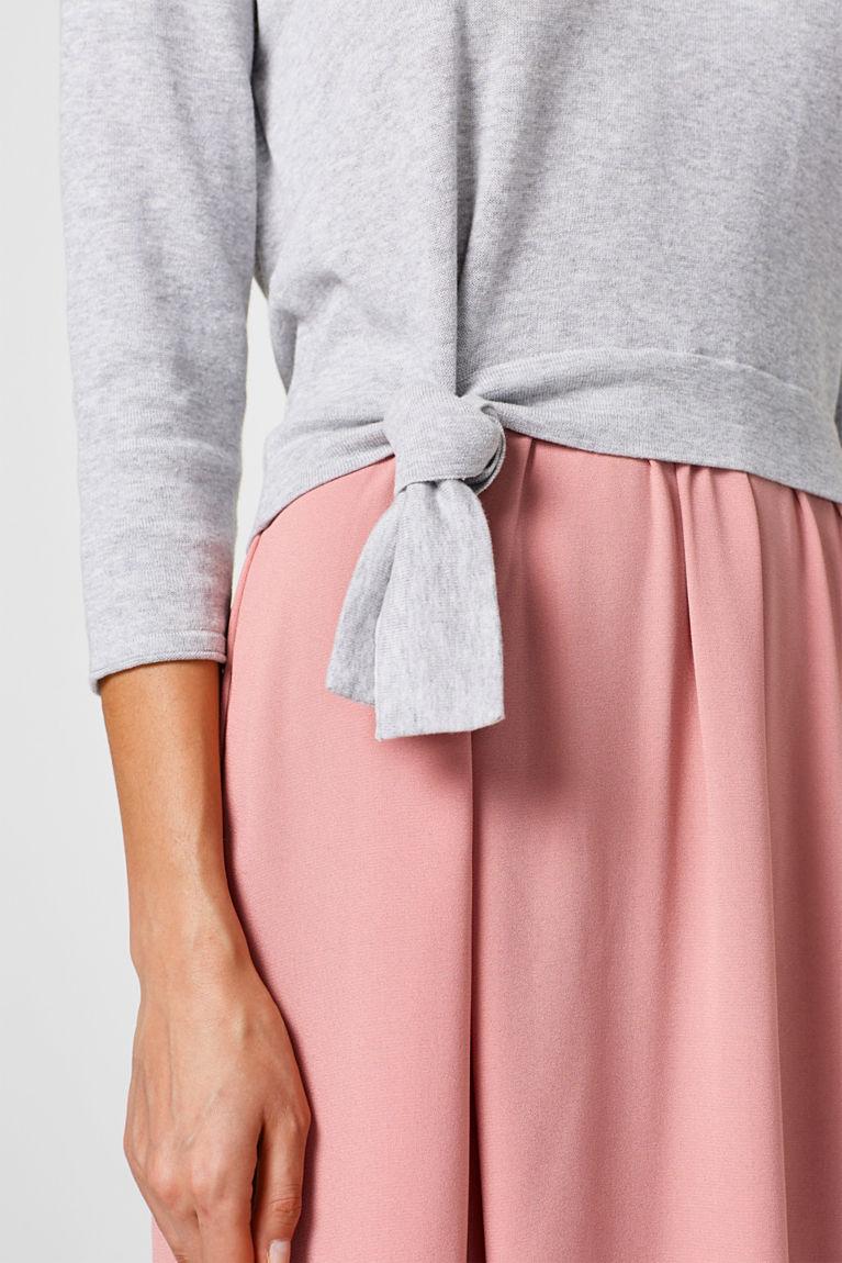 Material-Mix-Kleid mit Schleifen-Detail