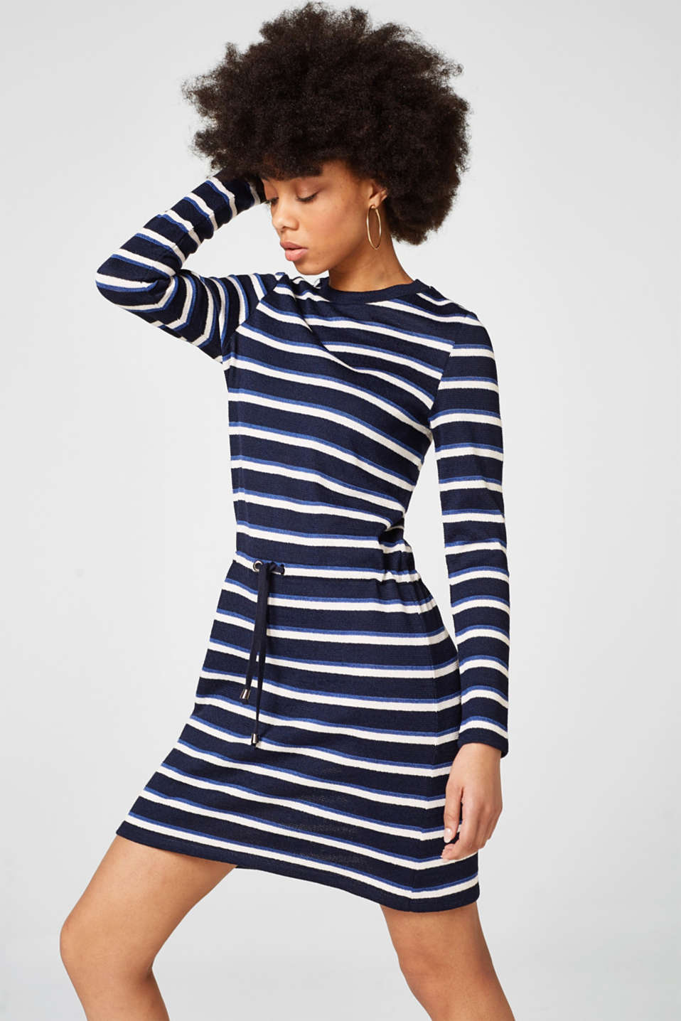 Esprit - Sporty knitted dress, drawstring at the waist