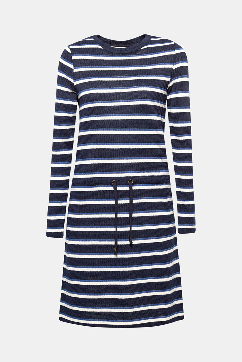 Your new, sporty knitted dress is on the way: fashionable, striped and with a drawstring panel at waist height!