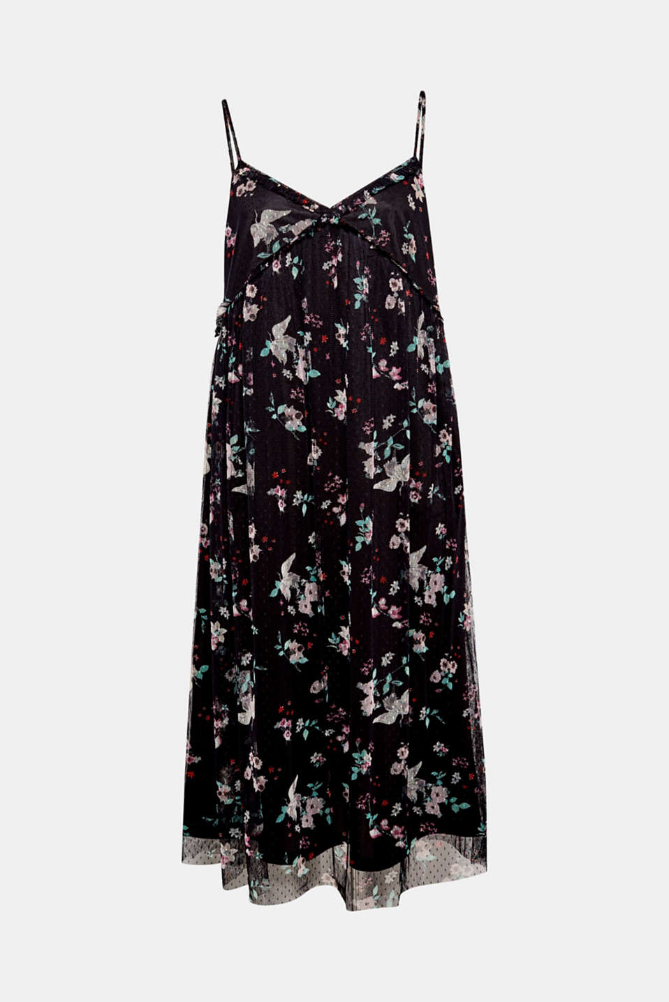 Inspired by the Orient, this tent dress is made of chiffon with a floral print and comes with adjustable spaghetti straps!