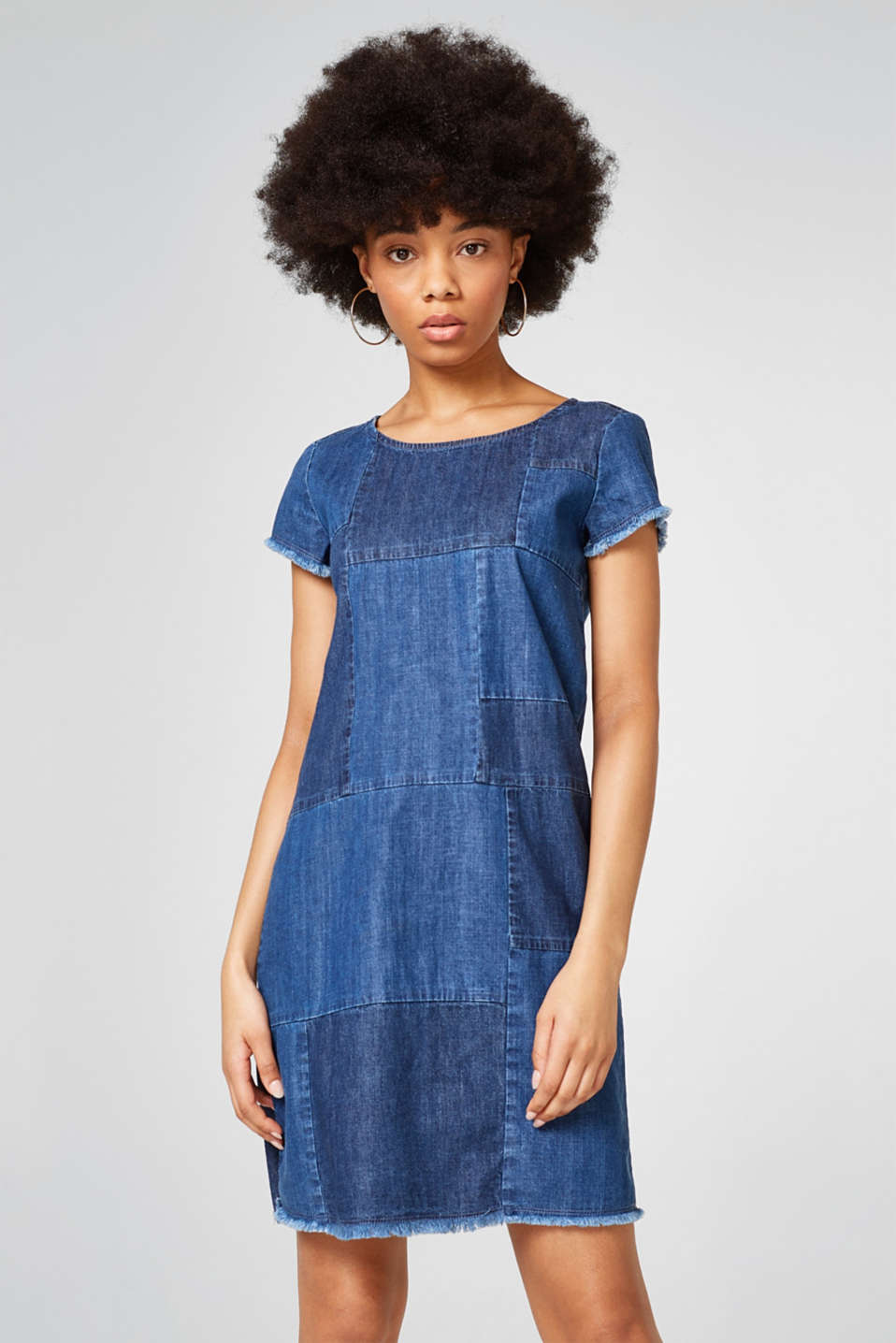 Esprit - Trendy denim dress in a patchwork look