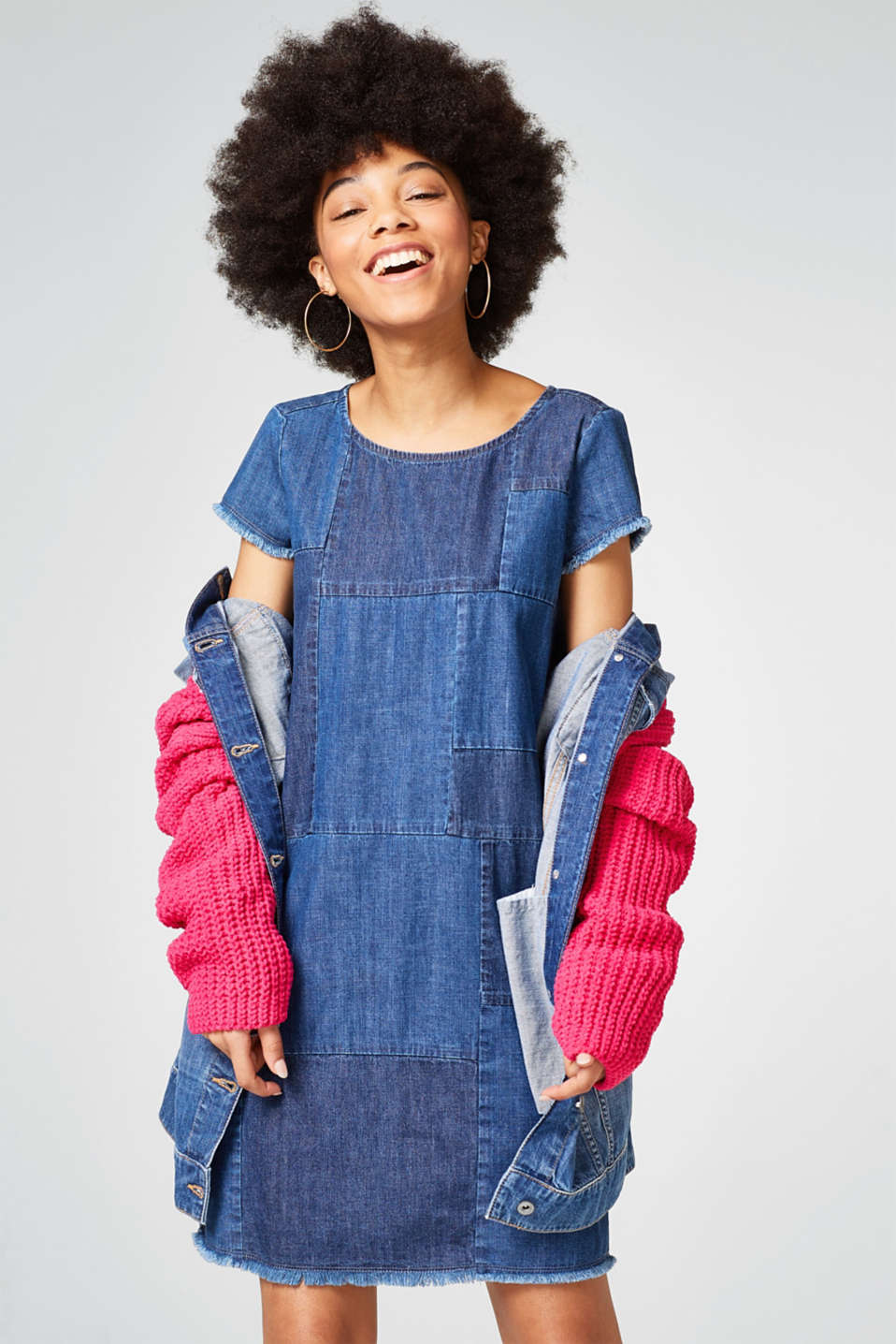 Trendy denim dress in a patchwork look