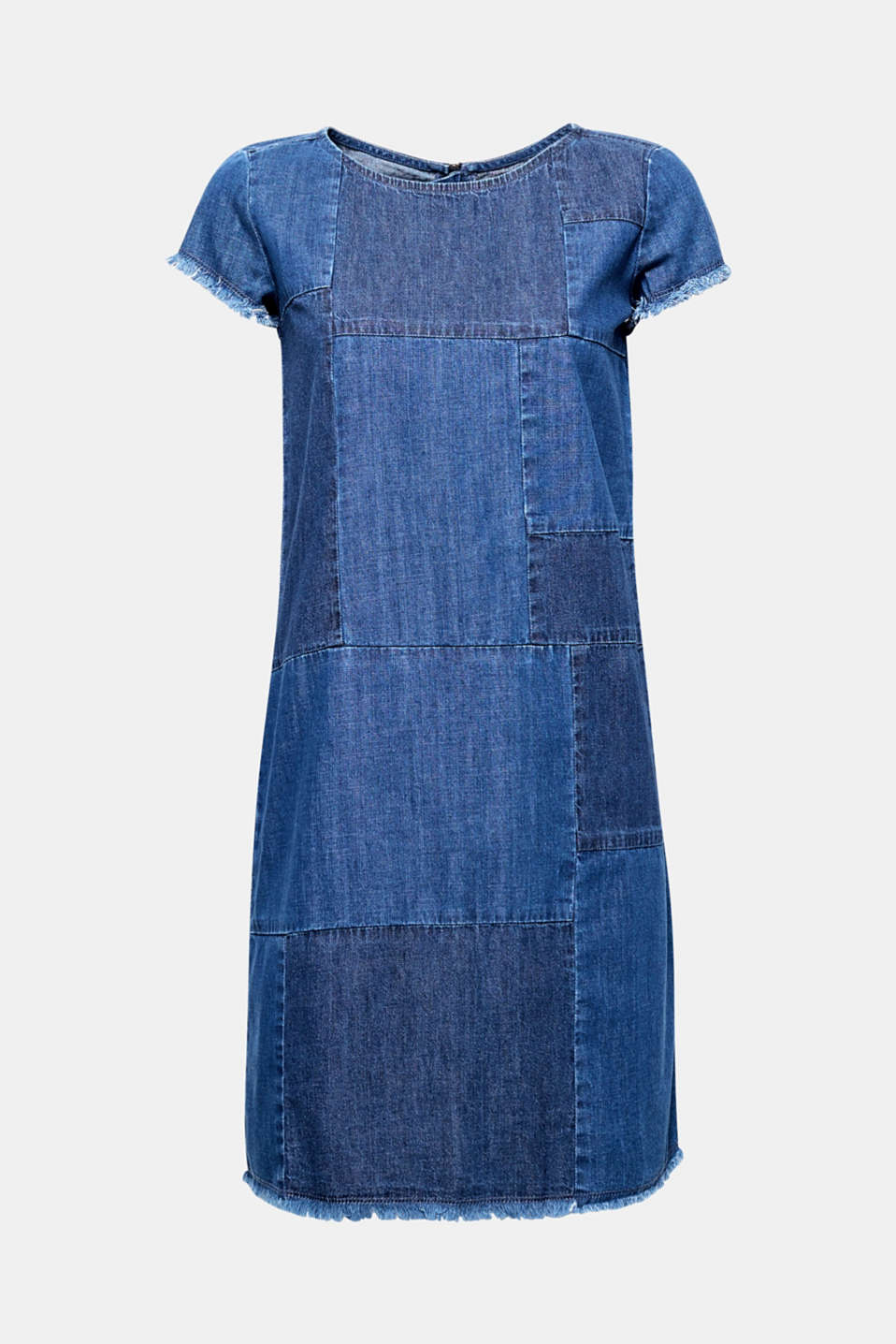 We love denim! Figure-hugging denim dress in 100% cotton in an exciting patchwork style.