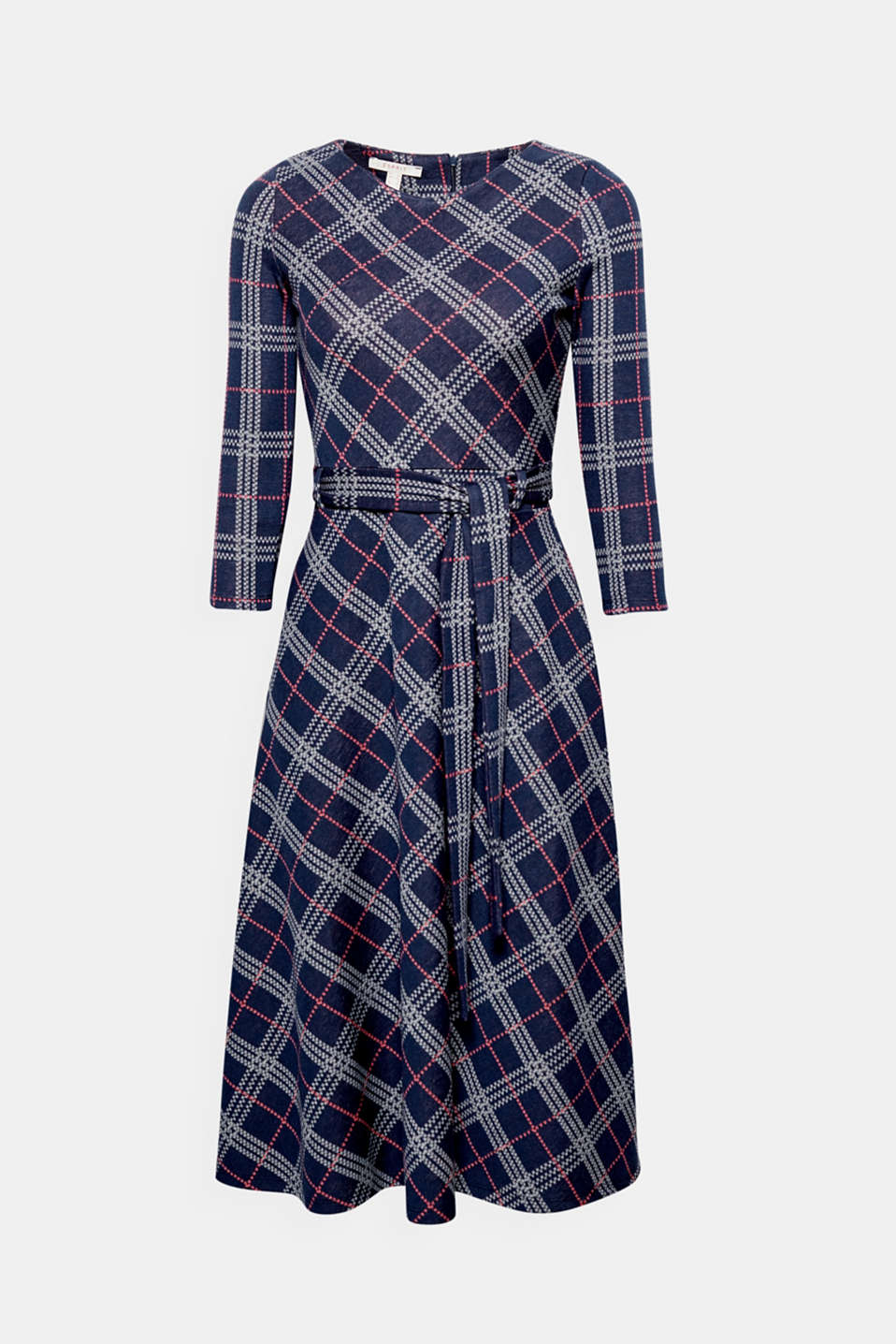 We love retro! This midi dress made of dense, soft jersey has an all-over checked pattern, a tie-around belt and a wide skirt!