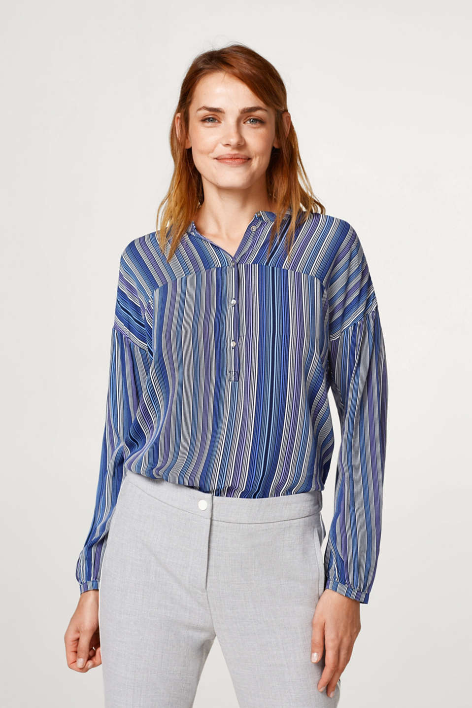 Esprit - Light printed blouse + small stand-up collar