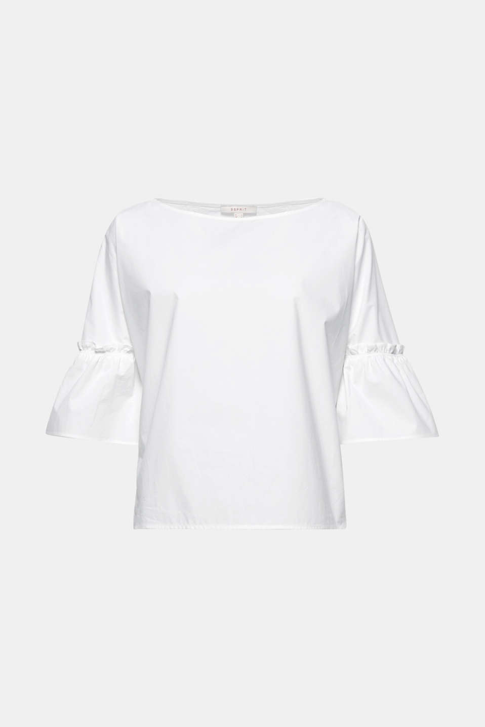 This poplin blouse is a fresh look for the season with its clean, boxy and short cut and pretty flounce sleeves!
