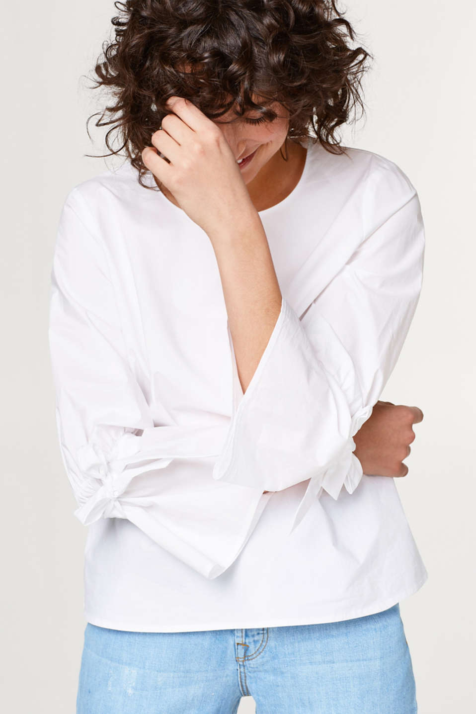 Esprit - Poplin blouse with sleeve ties