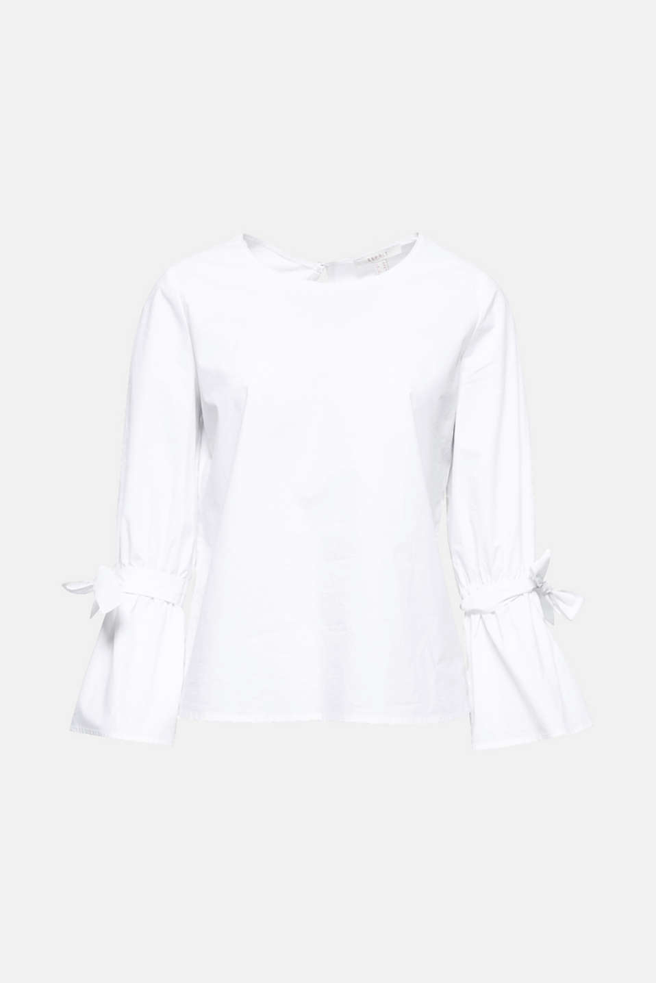 This fresh poplin blouse features three-quarter length trumpet sleeves accentuated by decorative bows.