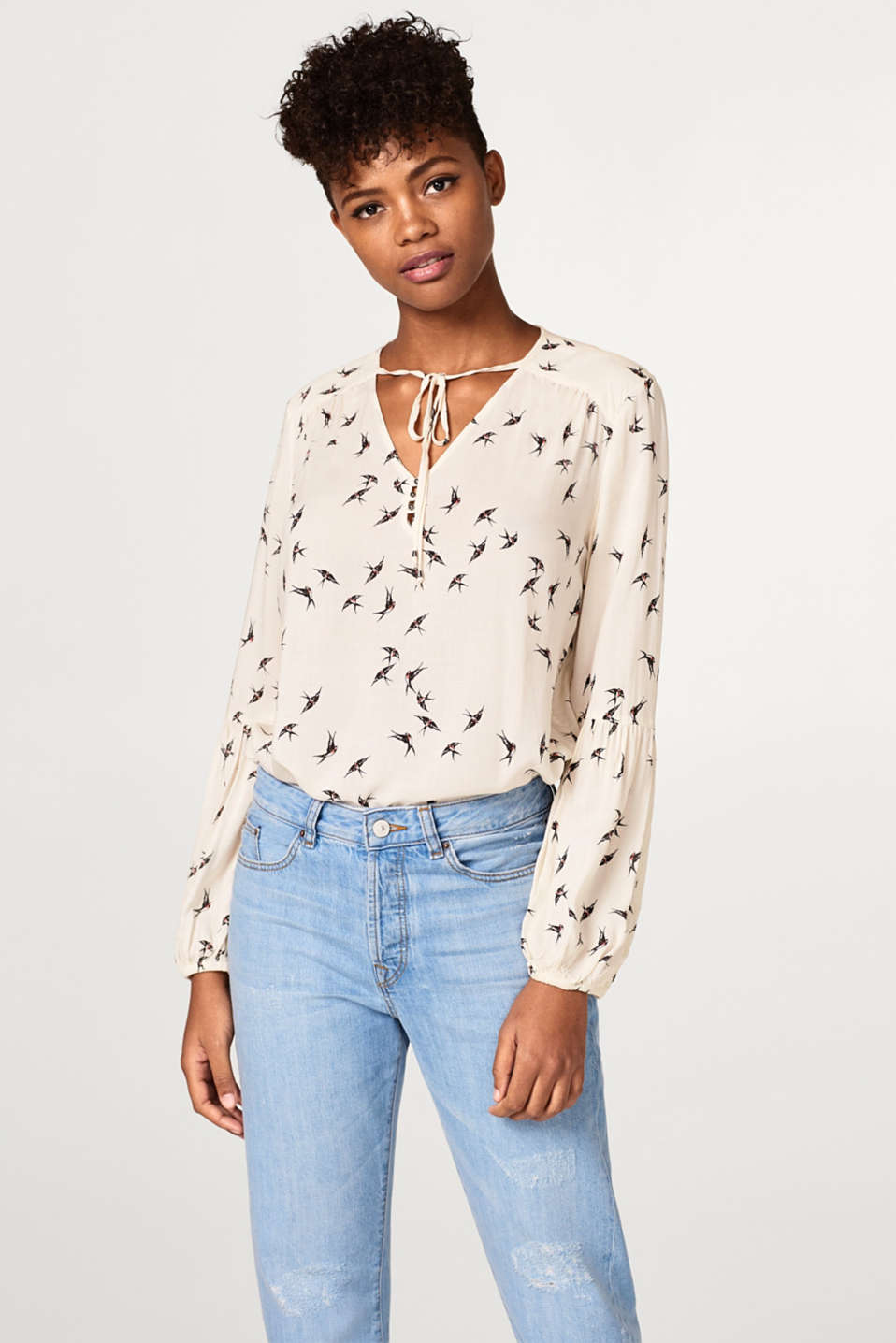 Esprit - Delicate print blouse with balloon sleeves
