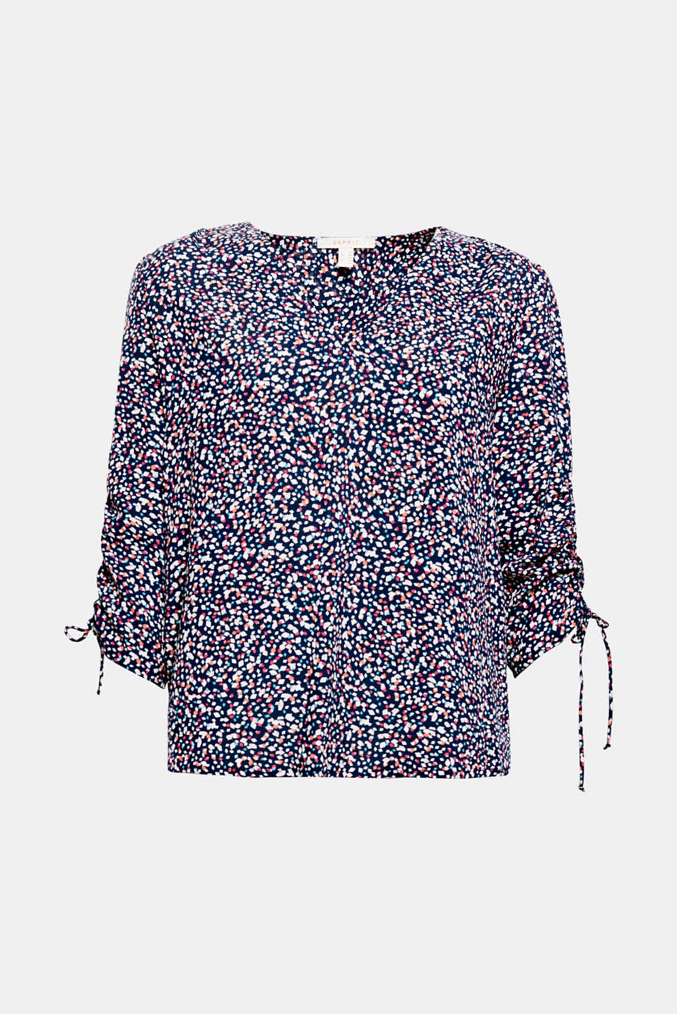 This flowing blouse with colourful fashion prints and gathered three-quarter length sleeves is perfect for starting in spring!