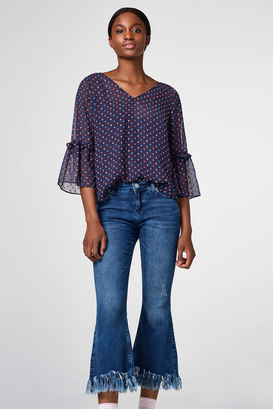 Esprit - 2-in-1 chiffon blouse with flounce sleeves