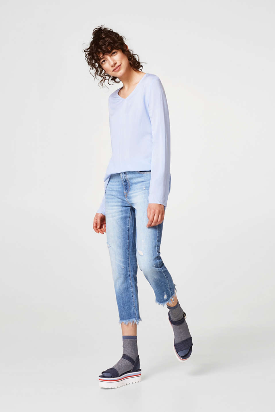 V-neck material mix long sleeve top