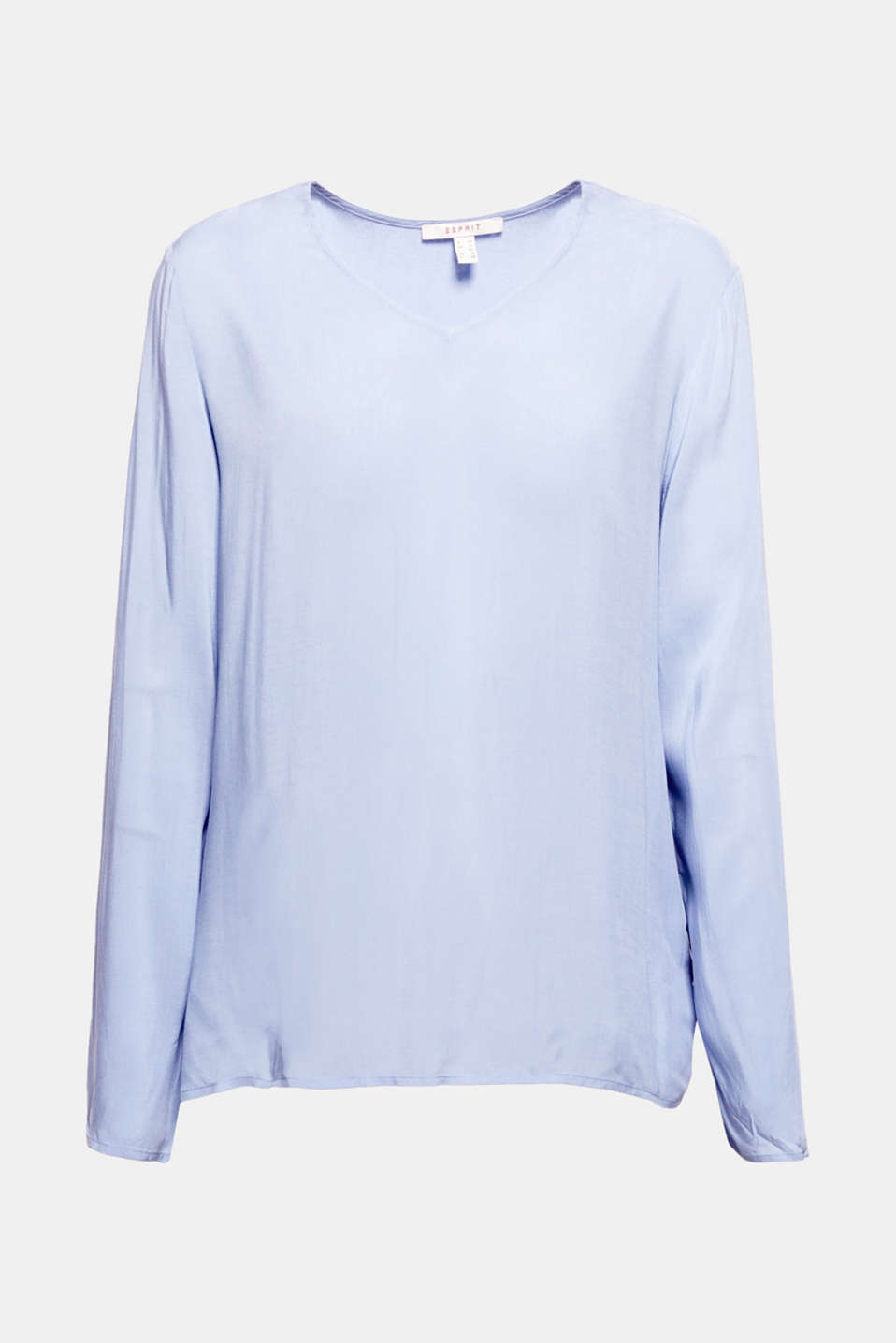 This v-neck long sleeve top in a light combination of materials is snug, flattering and great for creating outfits.
