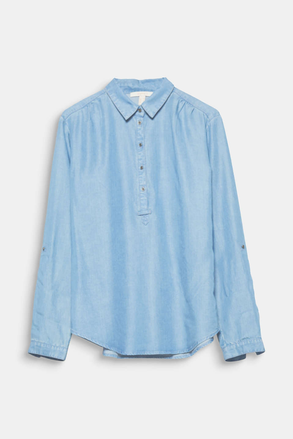 Offers lots of styling options: flowing lyocell blouse in a denim look with a button placket and turn-up sleeves!