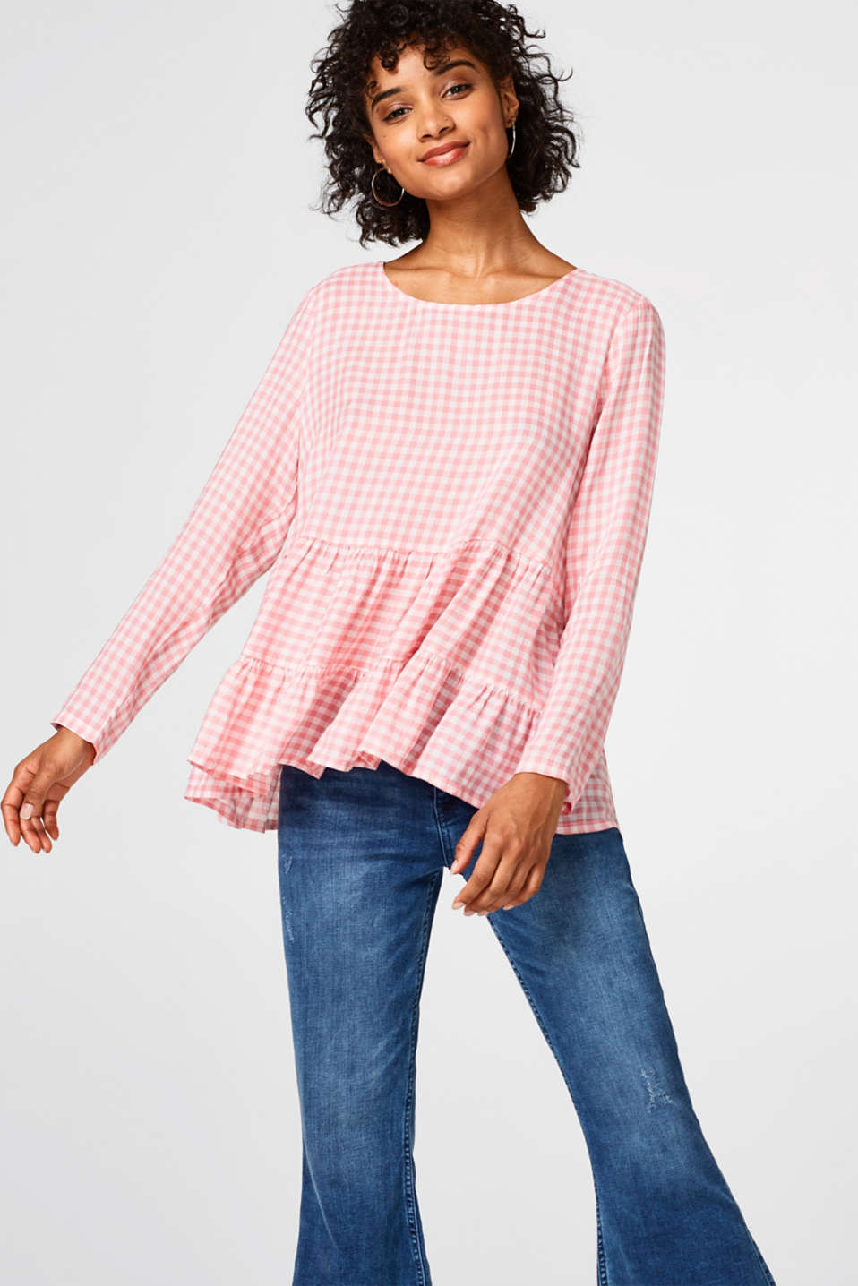 Esprit - Delicate gingham blouse with tiered hem