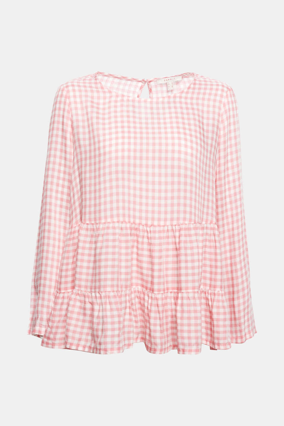 With this silky smooth, super lightweight gingham blouse with a flared tiered hem you will be all set for spring!