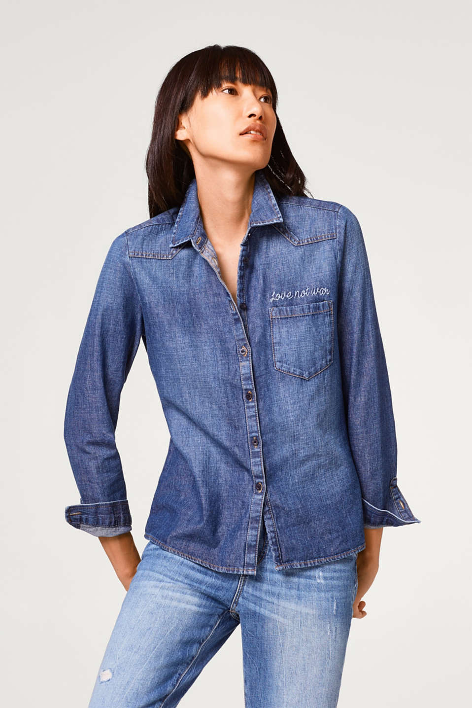 Esprit - Fitted denim blouse, 100% cotton