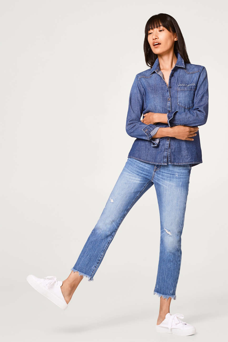 Fitted denim blouse, 100% cotton