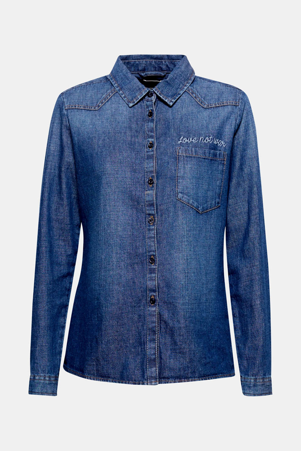 Statement embroidery over the patch breast pocket adds eye-catching style to this fitted denim blouse!