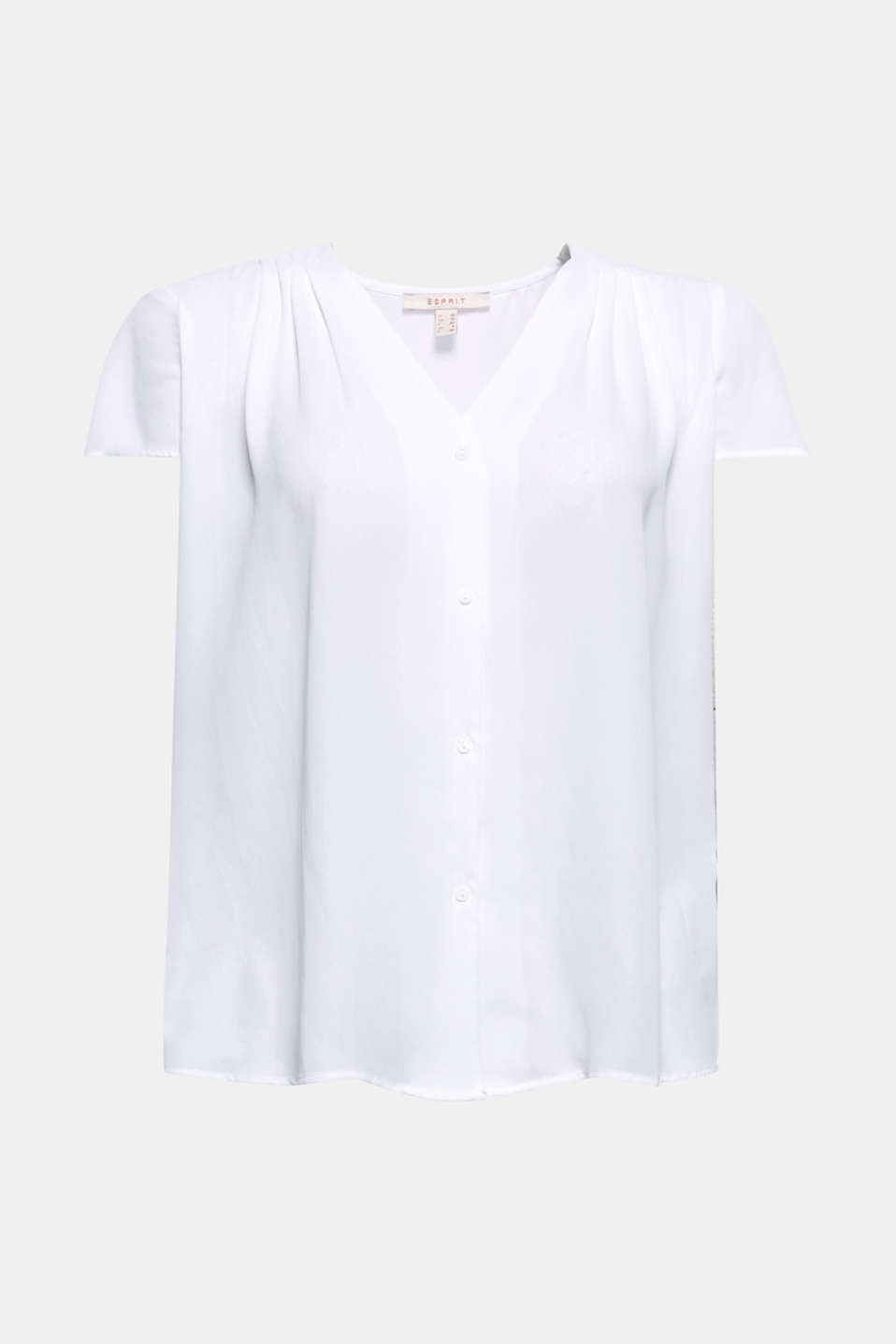 For a feminine business look, this V-neck blouse with shoulder pleats is perfect for mixing and matching!