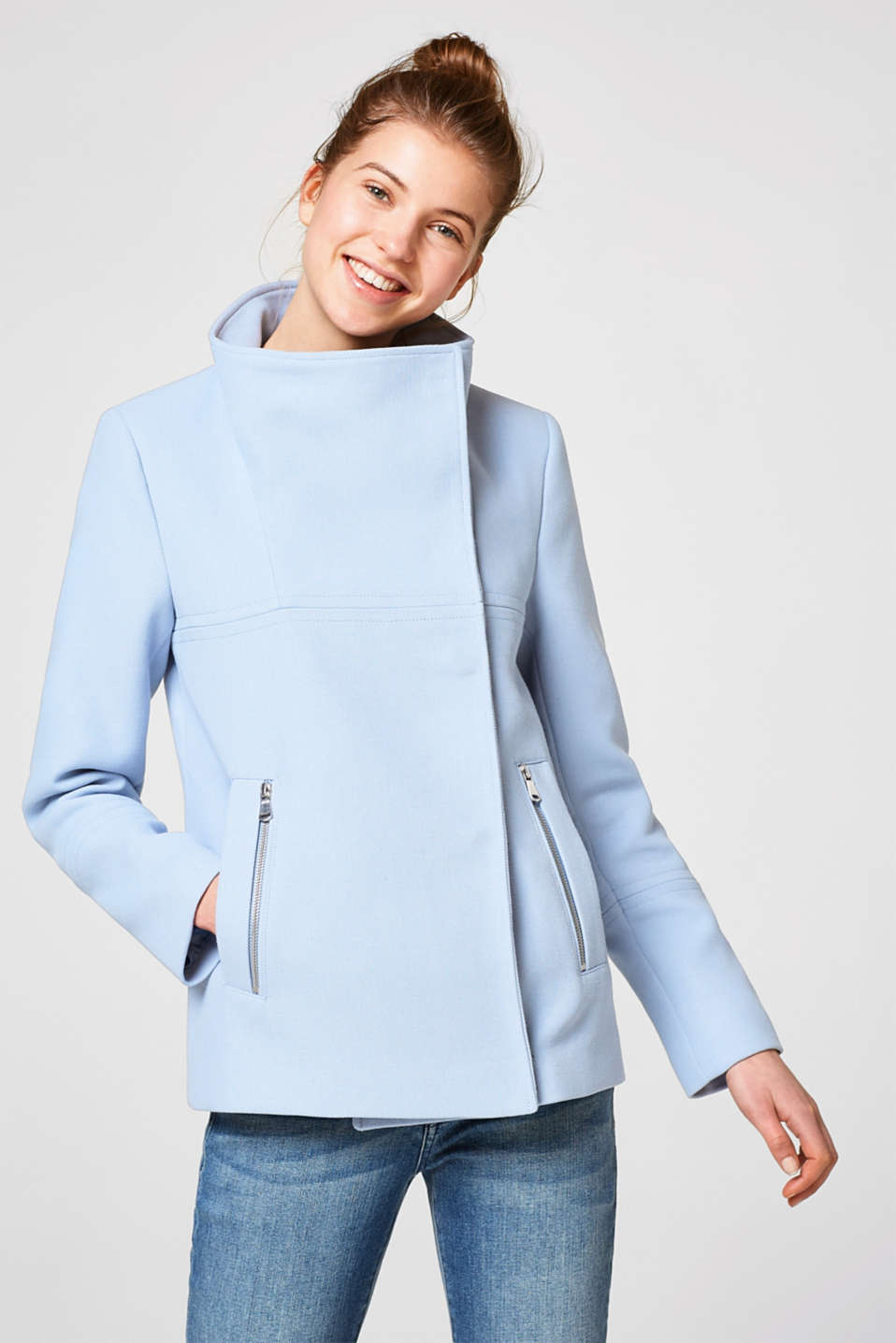 Esprit - Short jacket with a wide stand-up collar