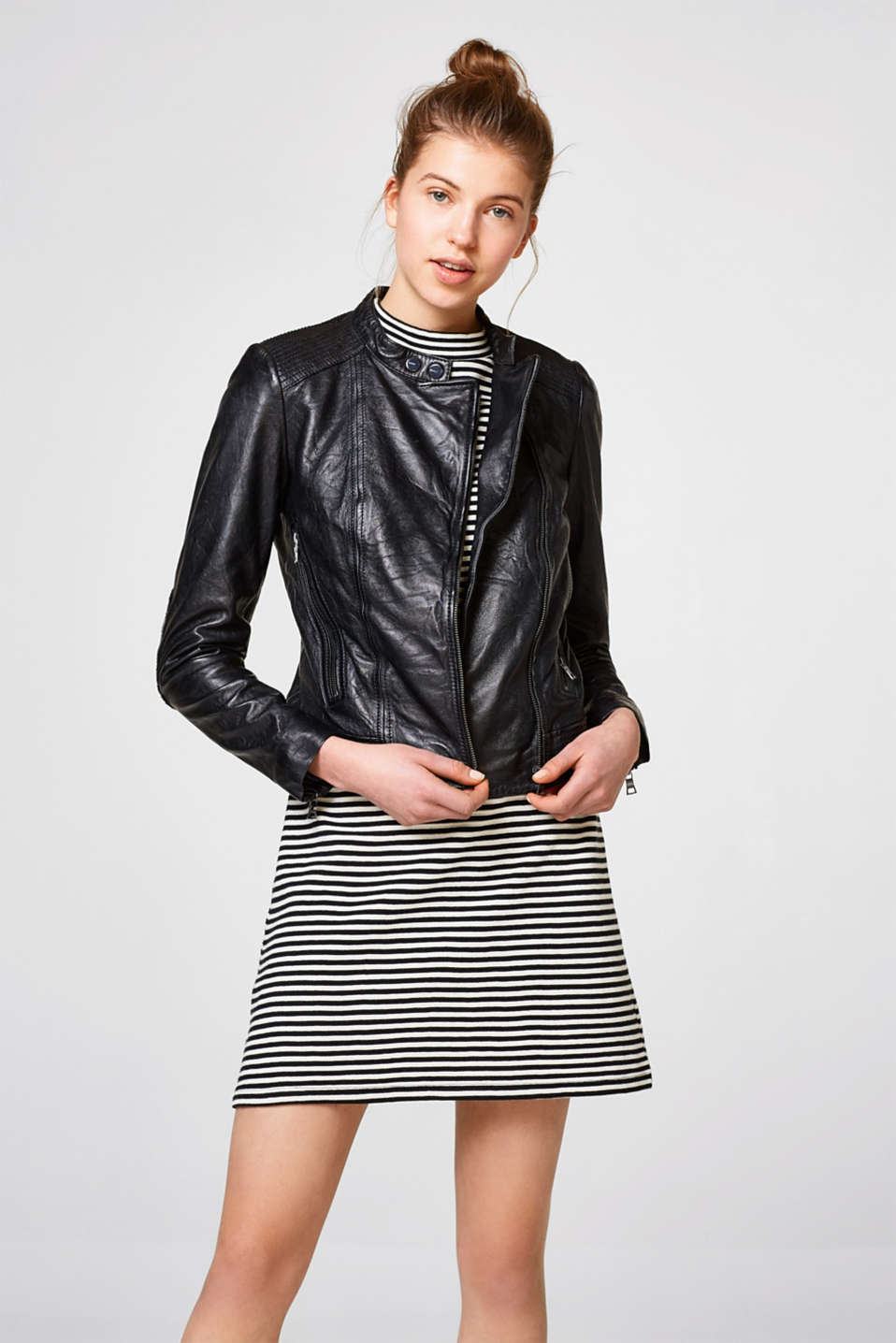 Esprit - Soft leather jacket in a cool biker look