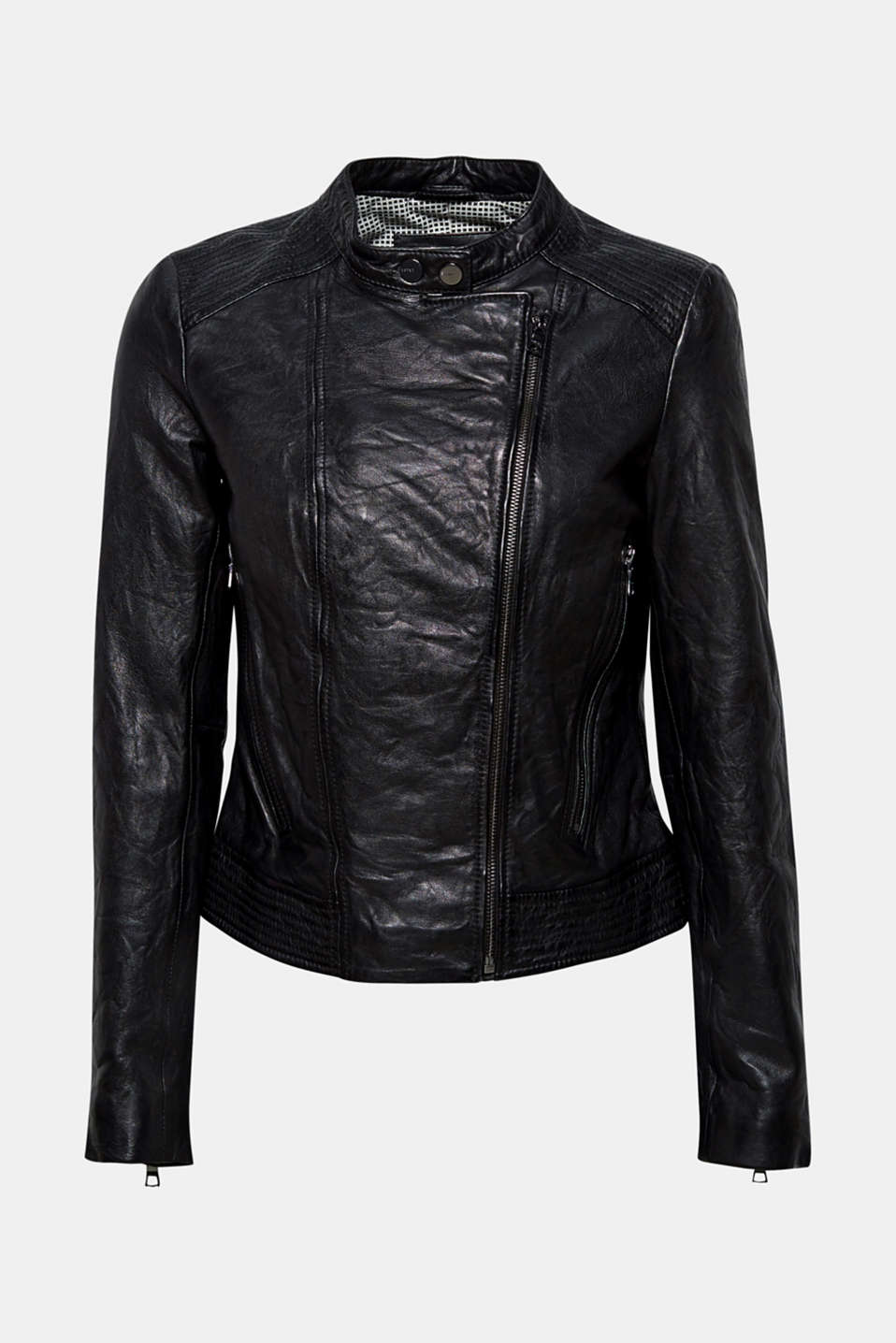 This ultra soft leather jacket features cool characteristic biker details like a stand-up collar, decorative stitching and zips!