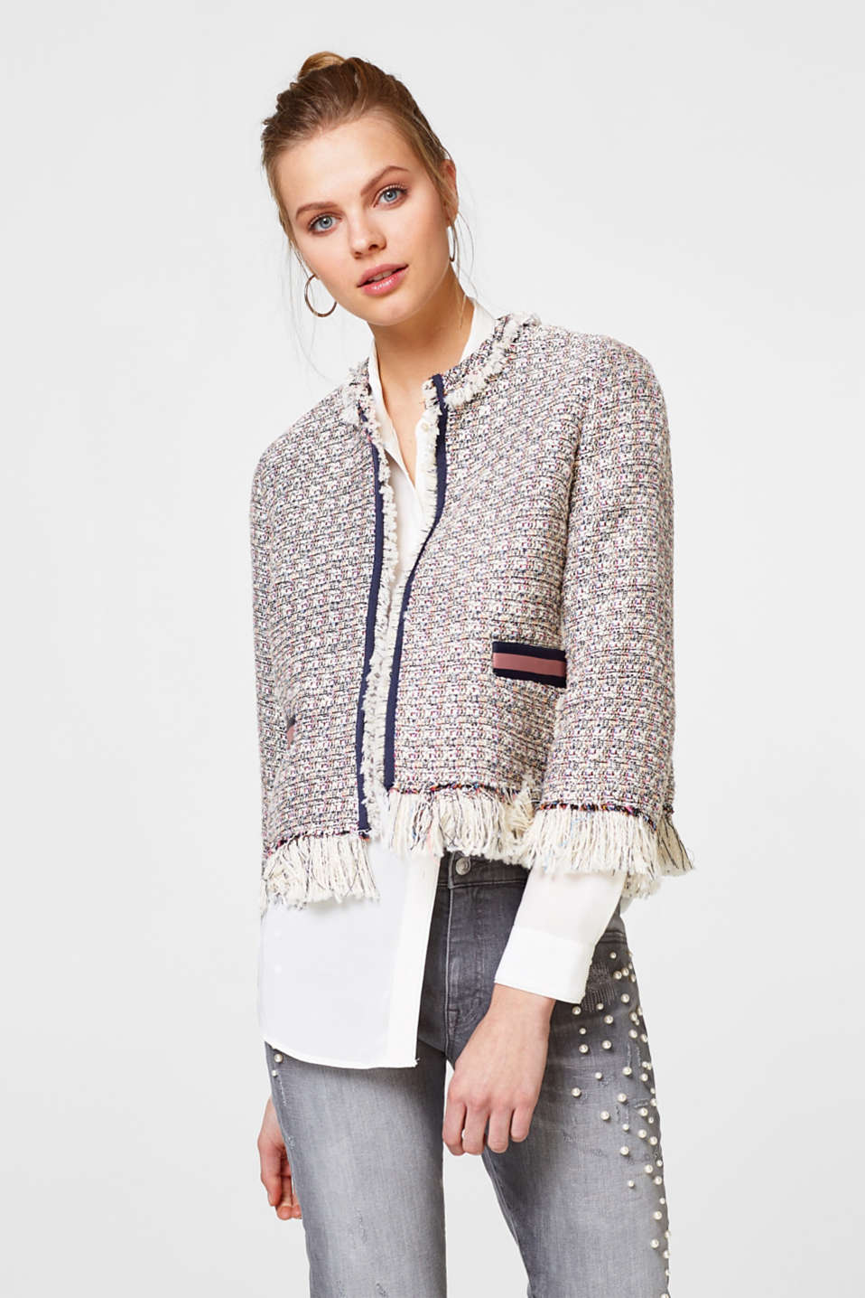 Esprit - Cropped bouclé jacket with glitter + fringing